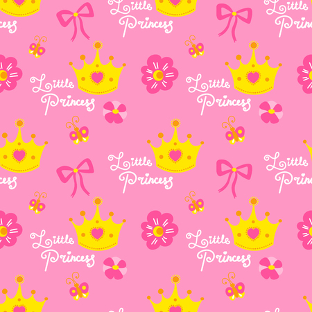 Pink little princess pattern vector. Cute background for template birthday card, baby shower invitation, wallpaper and fabric. Baby girl print with crowns, hearts, flowers, bows and butterflies. Illustration