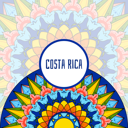 Costa Rica illustration vector. Decorated coffee carreta ornament wheel design for tourist symbols, souvenir card, banner or flyer.