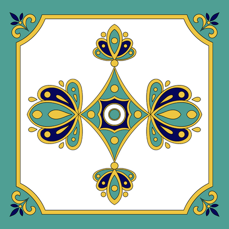 Portuguese tiles azulejos pattern vector seamless. Traditional tiles ornament, tile design, vector illustration
