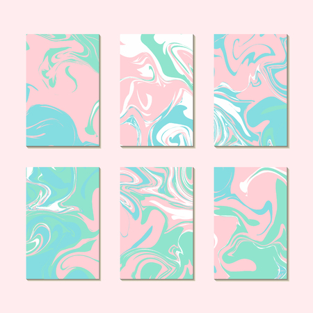 Pastel summer marble texture cards templates vector. Paint effect, oil liquid print or stone pattern background. Ideal for mothers day.
