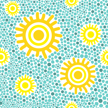 gold textured background: Sun pattern vector seamless. Yellow sunny kids wallpaper print on green background.