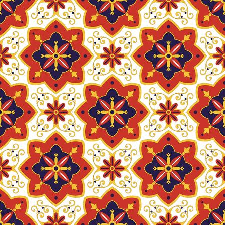 대각선 파란색, 빨간색과 흰색 장식품 패턴 벡터를 바둑판 식으로 배열합니다. 포르투갈어 azulejo, 멕시코, 스페인어, 아랍어 또는 모로코 주제. 벽지,  일러스트