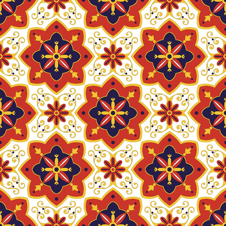 Tiles pattern vector with diagonal blue, red and white ornaments. Portuguese azulejo, mexican, spanish, arabic or moroccan motifs. Tiled background for wallpaper, wrapping paper or fabric. Ilustração