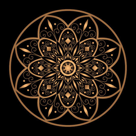 gold textured background: Mandala vector isolated. Luxury snowflake for Christmas greeting card. Indian, oriental or Arabic ornament. Flower gold black element design. Floral symbol for yoga studio, wedding invitation. Illustration
