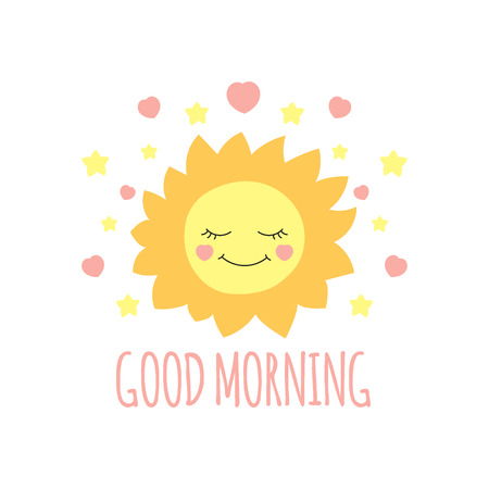 Cute sun print vector. Good morning background. Design for kids poster, illustration, fashion patches stickers, t-shirt apparel clothing or children fabric.