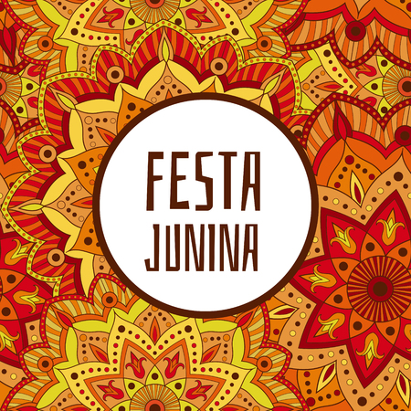 Festa Junina background vector. Festival banner for Latin holiday party. Brazilian flowers ornaments concept. Illustration