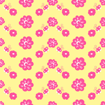 femine: Bright print with flower and butterfly. Sweet girl background for template birthday card, baby shower invitation, girls wallpaper, clothing or dress fabric.