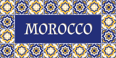 Morocco travel banner vector. Tourism typography design with arabic tiles pattern frame. Illustration