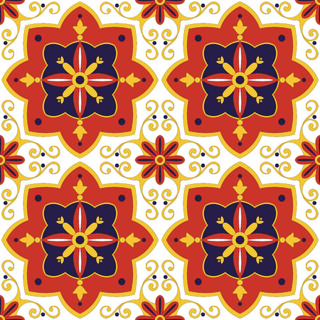 Tile pattern vector seamless with flowers motifs. Azulejo, portuguese tiles, spanish, mexican talavera or italian majolica motifs. Tiled print for wrapping, background or ceramic. Illustration