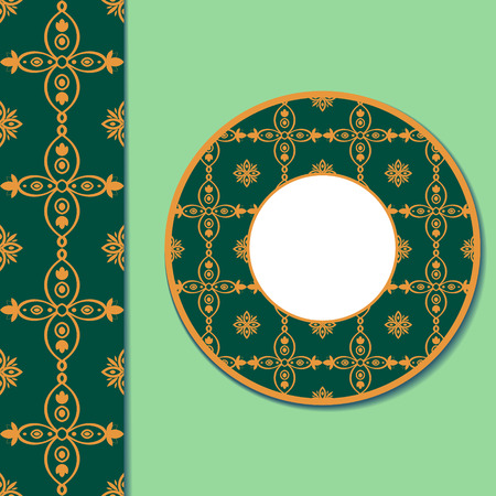 spanish home: Seamless ornamental green gold pattern and decorative plate for interior design.Tile ornament saucer for cup of coffee or tea. Arabic ornament for ceramic, home decor vector illustration. Illustration