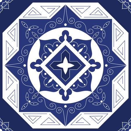 パターン シームレスなベクトルの青と白の色を並べて表示します。Azulejo、ポルトガル タイル、スペイン語、メキシコ、モロッコ、トルコ、ギリシ