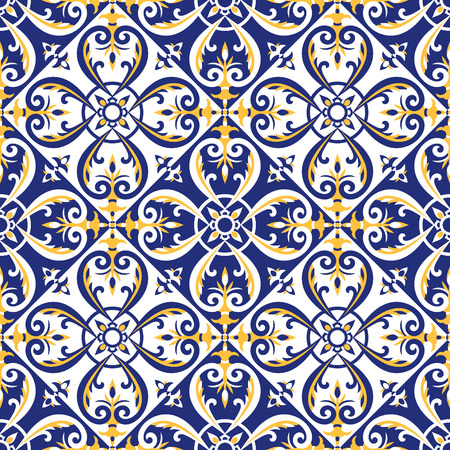Portuguese tiles pattern vector with blue, yellow and white ornaments. Azulejos, mexican talavera, italian majolica or spanish motifs. Flooring print for ceramic porcelain wall or fabric design.