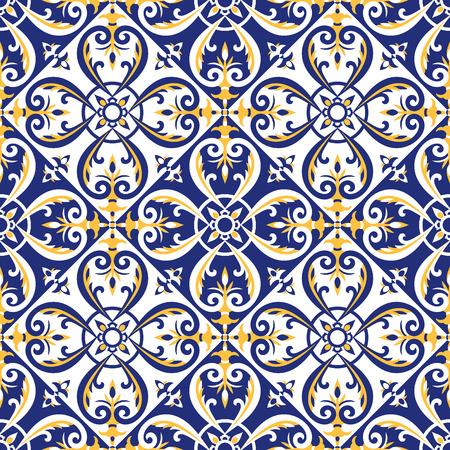 Portugiesischer Fliesenmustervektor mit den blauen, gelben und weißen Verzierungen. Azulejos, mexikanische Talavera, italienische Majolika oder spanische Motive. Bodenbelag für Keramik Wand oder Stoff Design. Vektorgrafik