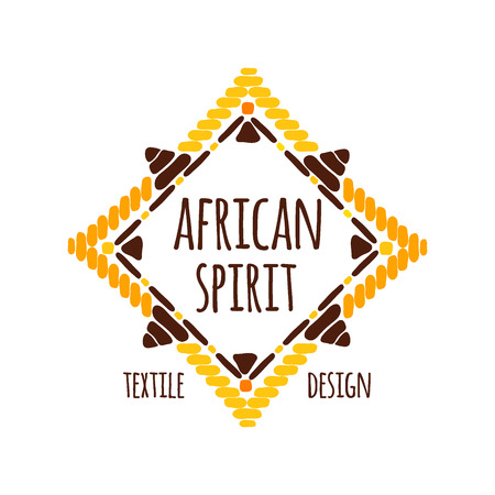 simple frame: Unique tribal logo template vector. Ethnic hand drawn design for branding of African textile shop, badge, apparel print, fabric stickers or labels.