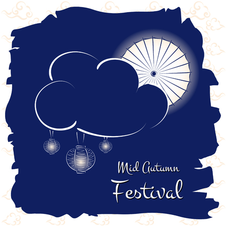 Mid Autumn Festival vector (Chuseok). Festive illustration with moon parasol, clouds and light lanterns. Design for background, greeting card, banner, flyer or wallpaper.