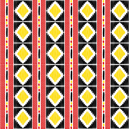 Tribal pattern vector seamless. Border African Uganda flags colors print. Ethics texture. Repeating background for fabric, wallpaper, wrapping paper and boho card template.