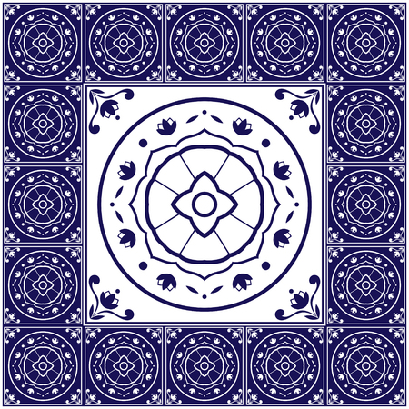 edwardian: Blue white tiles floor - pattern vector with ceramic cement tiles. Big tile in center is framed. Background with portuguese azulejo, mexican talavera, spanish, delft, italian motifs.