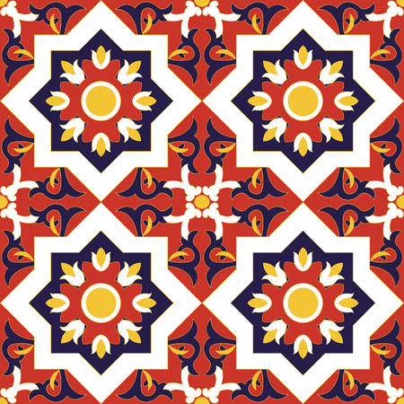 Spanish tile pattern vector seamless with flowers motifs