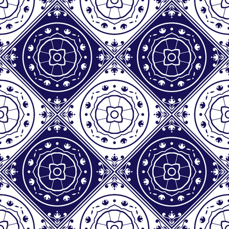 talavera: Delft dutch tiles pattern vector with blue and white ornaments. Portuguese azulejo, mexican, spanish, arabic or moroccan motifs. Tiled background for wallpaper, surface texture, wrapping or fabric.