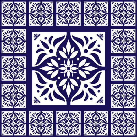 edwardian: Blue white tiles floor - vintage pattern vector with ceramic cement tiles. Big tile in center is framed in small.