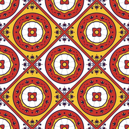 talavera: Tiles pattern vector with floral ornaments. Portugal azulejo, mexican, spanish, delft dutch or moroccan motifs.