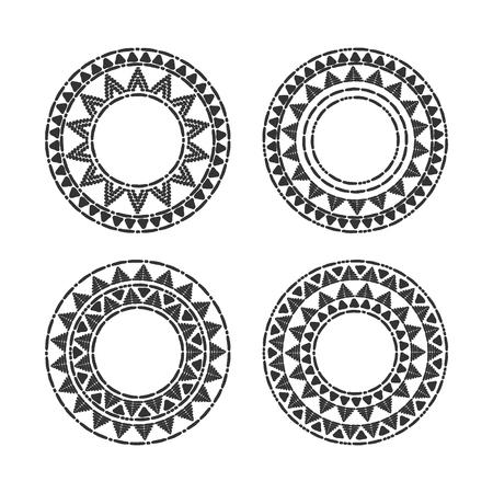 部族のラウンド フレームは、ベクトルを設定します。アフリカ、メキシコ、ペルー、アステカの装飾的な要素。部族のロゴ、バッジ、ラベルや自由  イラスト・ベクター素材