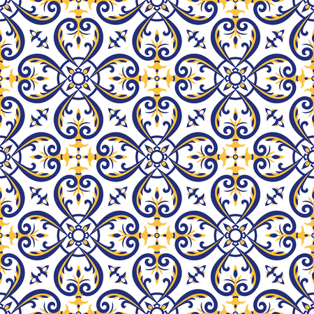 Mexican tiles pattern vector with blue, yellow and white ornaments. Portuguese azulejos, talavera, italian majolica or spanish motifs. Flooring print for ceramic porcelain wall or fabric design.