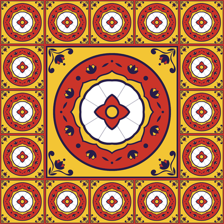 edwardian: Flowers pattern tiles floor vector - vintage with ceramic cement tiles. Big tile in center is framed in small. Background with portuguese azulejo, mexican talavera, spanish, italian majolica motifs.