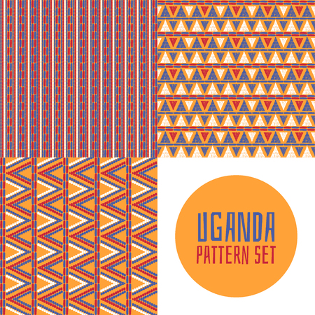 Set of tribal pattern vector seamless. Zulu or Uganda African basket print design. Ethnics background for fabric, wallpaper, wrapping paper and boho card template.
