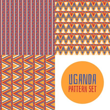 Set van tribale patroon vector naadloos. Zulu of Oeganda Afrikaans manddrukontwerp. Ethnics achtergrond voor stof, behang, inpakpapier en boho kaartsjabloon.