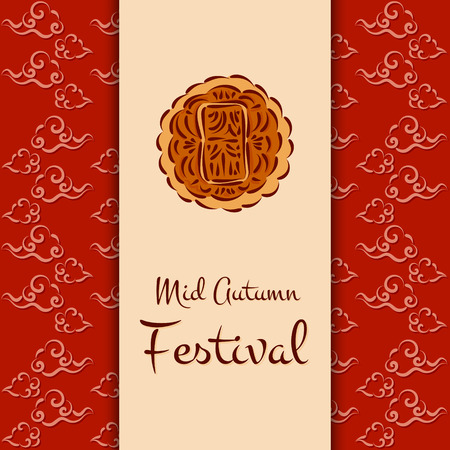 Mid Autumn Festival vector (Chuseok). Traditional illustration with moon cake and red oriental clouds pattern. Design for background, greeting card, banner, flyer or wallpaper. Çizim