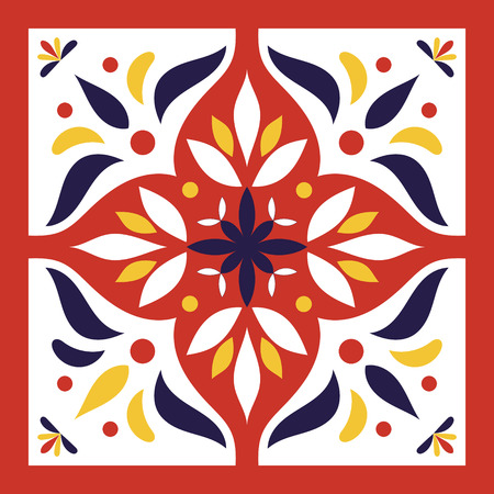 Red, blue, yellow and white tile vector. Italian majolica or portugal tiles pattern with oriental ornaments.  イラスト・ベクター素材