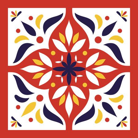 Vector de azulejo rojo, azul, amarillo y blanco. Patrón italiano de azulejos de mayólica o portugal con adornos orientales.