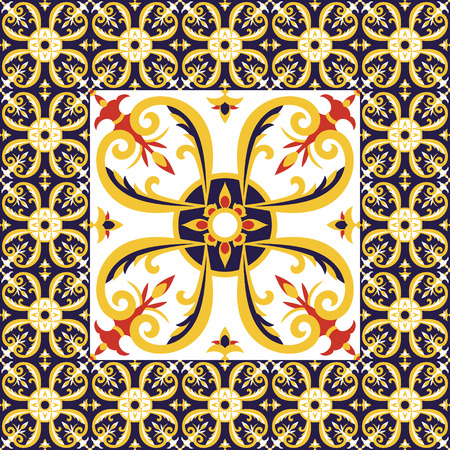 Tiles floor pattern vector with ceramic tiles. Big tile in center is framed in small. Background with portuguese azulejo, mexican talavera, moorish spanish or gold italian majolica motifs. Illustration