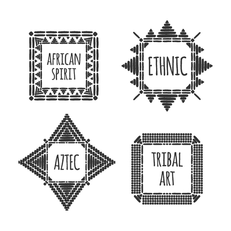 Unique african logo template set vector. Tribal hand drawn design for branding, badge, poster, apparel print or labels.