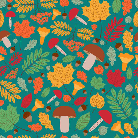 Seamless autumn pattern vector with leaves, oaks, rowan berries and mushrooms. Print for fabric, child illustration, seasonal greeting card and banner, wrapping paper, surface design. Illustration