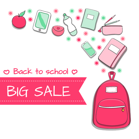 Back to school SALE background with hand drawn doodle school supplies – backpack, notebooks, e book, pencil case and others. Vector illustration for banner or sale poster. Illustration