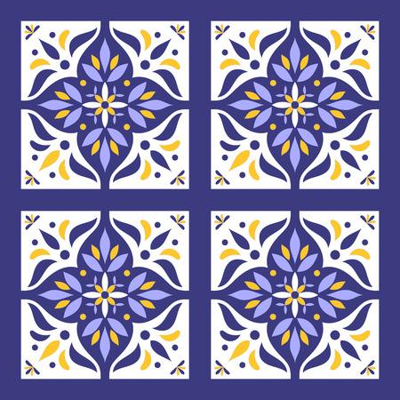Portugese tegels patroon vector met blauwe, gele en witte ornamenten. Azulejo Portugal, Mexicaanse, Spaanse of Marokkaanse motieven. Achtergrond voor behang, oppervlaktetextuur, verpakking of stof. Stockfoto - 83828803