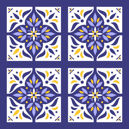 interior decoration: Portuguese tiles pattern vector with blue, yellow and white ornaments. Portugal azulejo, mexican, spanish or moroccan motifs. Background for wallpaper, surface texture, wrapping or fabric.