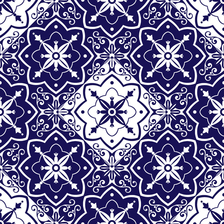 interior decoration: Tiles pattern vector with diagonal chess blue and white ornaments. Portuguese azulejo, mexican, spanish, arabic or moroccan motifs. Tiled background for wallpaper, wrapping paper or fabric. Illustration