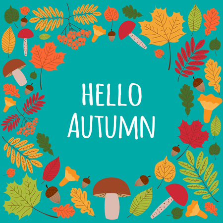 Hello Autumn. Seasonal background with autumnal elements. Mushrooms, leaves, acorns and rowans berries.