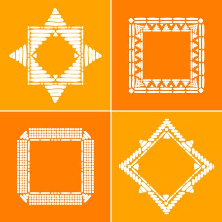 Tribal border frames set vector. African or Aztec ethnic decorative elements. Illustration