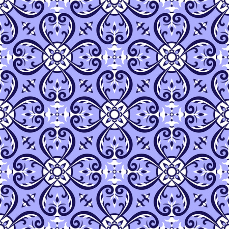 Mexican tiles pattern vector with blue and white ornaments.