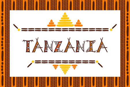 Tanzania travel vector banner. Tribal African illustration. Illustration