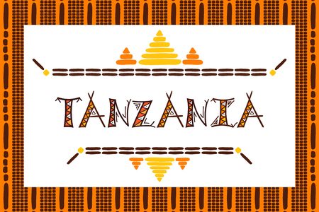Tanzania travel vector banner. Tribal African illustration. Çizim