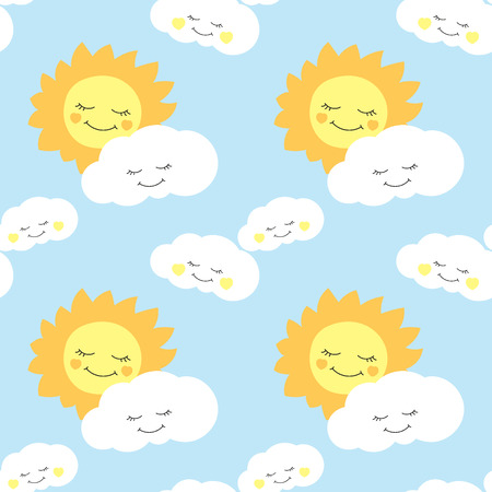 cute baby sun pattern vector seamless background design for
