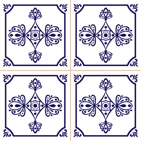 Ornamental pattern seamless vector blue and white color. Azulejo, portuguese tiles, spanish, moroccan, mexican or delft dutch tiles design.