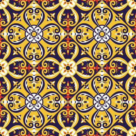 Italian tiles pattern vector with blue, red, yellow and white ornaments. Portuguese azulejos, mexican talavera or spanish majolica motifs. Flooring print for ceramic porcelain wall or fabric design.