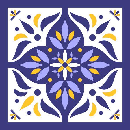 Vecteur de tuile bleu, jaune et blanc. Modèle de carreaux portugais avec des ornements azulejo. Banque d'images - 88358111