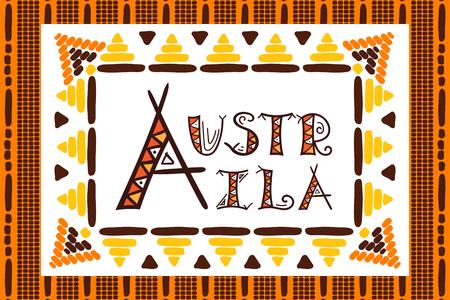 aboriginal art: Aboriginal Australia travel vector. Traditional dotted art illustration. Typography background design for tourist banner, souvenir card, sticker, magnet, postcard, fashion t-shirt print or poster.